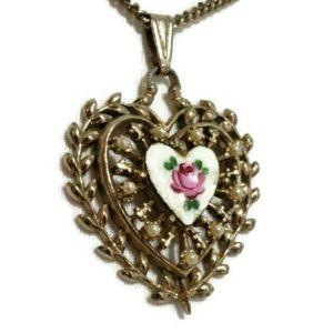 Vintage Rose Heart Guilloche Enamel Necklace